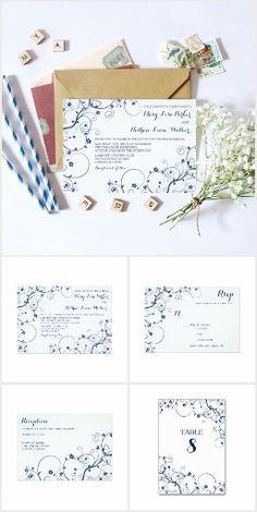 Navy Vines Wedding Invitation Suite