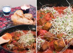 Tulinen tomaatti-tofupannu