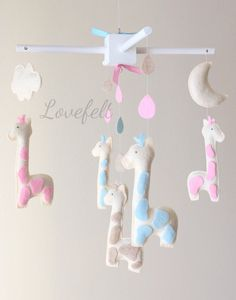 Baby crib mobile - Baby Mobile - Custom Baby Mobile -  Baby Giraffe Mobile - Nursery Mobile - Neutral Mobile - OR CHOOSE your colors :)