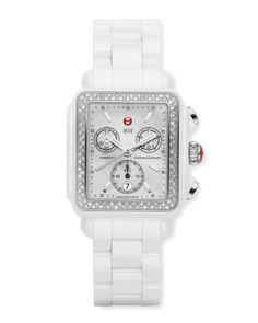 $1,995, White Ceramic Watch: Michele Ceramic Deco Diamond Watch White. Sold by Neiman Marcus. Click for more info: https://lookastic.com/women/shop_items/61606/redirect