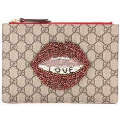 Gucci GG Supreme Embellished Coated Canvas Pouch found on Polyvore featuring beauty products, beauty accessories, bags & cases, clutches, brown and gucci