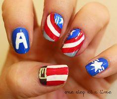 Captain America / Steve Rogers | One Step At A Time #nails #nailart #freehand #avengers #avengersassemble