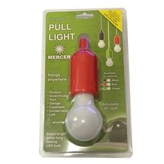 Pull Light Super bright battery operated LED bulb with adjustable chord. To activate light simply pull bulb towards you. Comes in red, green and black.
