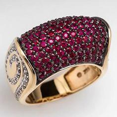 Estate Natural Ruby Wide Band Ring withnDiamonds 14K Gold - EraGem
