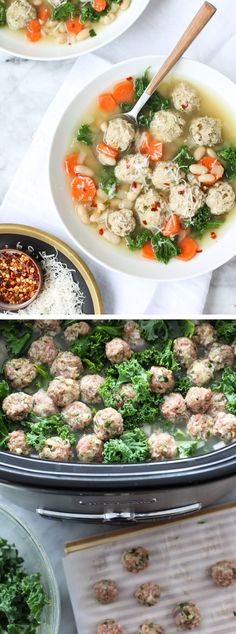 Kale, beans and mini turkey meatballs make this a filling, but healthy slow cooker dinner for any day of the week. #recipe