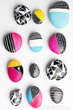 Cute rocks, I sidestep using sharpie because acrylic will crack and fall off. If you want a brighter colour try using metallic sharpies.