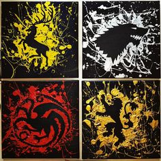 Game of Thrones paintings - colorful splatters on black canvas - GoT house banners