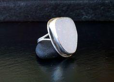 Sea Glass Ring-Light Pink Pastel-California Sea Glass-Sterling Silver. $65.00, via Etsy.