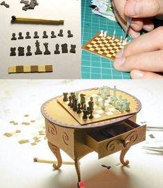 Miniature chess set/board and table. Papercraft