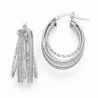 Leslie's 14k White Gold Polished Glimmer Infused Hoop Earrings