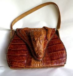 1940s vintage antique Alligator Caiman purse handbag Aligator, head, feet, reptile, lizard, crocodile, taxidermy, gothic on Etsy, $85.00