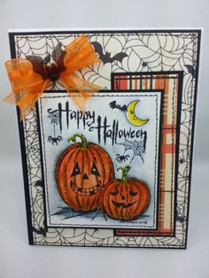 happy haunting pumpkins handmade greeting card