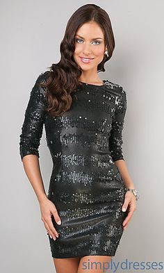 Short Black Sequin Dress at SimplyDresses.com