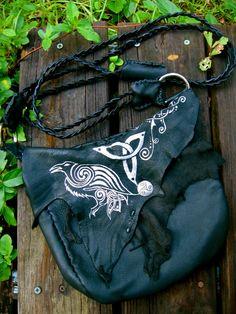 Morrigan Celtic Raven Leather Bag by EireCrescent on Etsy, $120.00