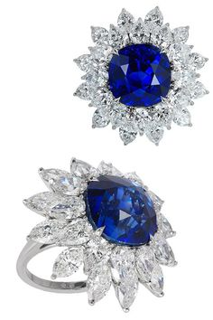 Bayco ring with a natural Ceylon sapphire of 15 cts and diamonds: