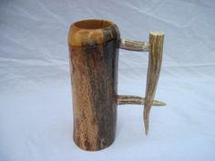 Wooden beer mug with custom made handle, beer stein, wood tankard, antler handle