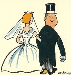 Bride Groom Wedding 1950's Postcard You'll Be by TheIDconnection, $10.00