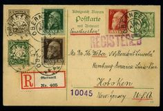Old German States Bavaria. Interesting lot from 6 postal stationeries, as well amongst other things 3x airmail postcard, everything superscribes on Verkaufskarten, accordingly Einzelverkaufspreis € 495,-.