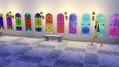 Mod The Sims - Stained Glass Windows with Rosettes Stairs Window, Window Wall, Sims 4 Windows, Sims 4 Studio, Sims 4 Build, Sims 4 Update, Sims 4 Mods, Electronic Art, I Am Game