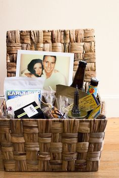 A wedding gift basket for guests with local food, beer and souvenirs!