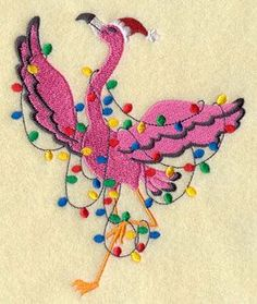 A Christmas flamingo all tangled up in holiday lights. I know someone who would love this!