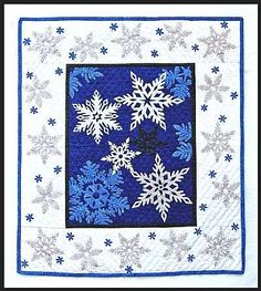 Bobbie G Designs, Quilt Pattern Snowflakes Blue Quilts, Star Quilts, Quilt Blocks, Quilting Templates, Quilting Projects, Quilting Designs, Snowflake Quilt, Snowflakes, Paper Piecing Patterns