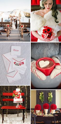 Serving hot coco is must at a winter wedding. Also the little vases with the red flowers would be cute for a rehearsal dinner