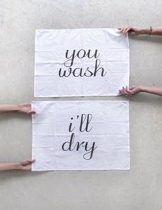 Tea(m) Towels - tea towel set of 2 - fair trade organic cotton - eco-friendly kitchen towels - wedding gift / housewarming gift