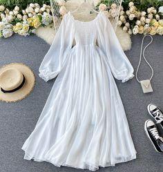Long Summer Dresses, Beach Dresses, Chiffon Dresses, Dress Long, Long White Dress Boho, Prom Dress, Cheap Dresses, Elegant Dresses, Dresses Dresses