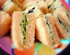 Tea Sandwiches w/ Cream Cheese and Asparagus. Cooked asparagus is ...