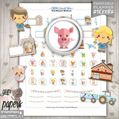 Farm Stickers, Planner Stickers, Animal Stickers, Erin Condren, Planner Accessories, Cow Stickers, Pig Stickers, Kawaii Stickers