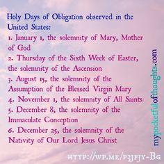 Holy Days of Obligation.