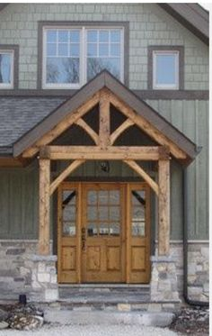 90 Awesome Front Door Farmhouse Entrance Decor Ideas And Remodel Exterior House Colors, Exterior Design, Exterior Doors, Rustic Exterior, Siding Colors, Craftsman Exterior, Exterior Paint Colors, Paint Colours, Style At Home