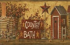 Bathroom borders for walls room and country bath - Country wallpaper borders for bathrooms ...