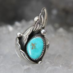Loren Begay, Navajo Silversmith Collectable Turquoise Ring. Native American sterling silver and turquoise ring signed size 8.5