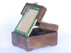 This is an authentic vintage shaving box with decorative iron corners. Once upon a time these vintage boxes would have been used by barbers in northern India to store their scissors, clippers, razor blades and other tools. Vintage Box, Vintage Gifts, Mirrored Coffee Tables, Old Chest, Money Jars, Unique Valentines Day Gifts, Vintage Mirrors, Old Boxes, Wet Shaving