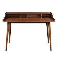 Eurostyle Flavio Desk in American Walnut Brown, Contemporary & Modern Contemporary Desk, Home Desk, American Walnut, Wooden Desk, Coaster Furniture, Furniture Projects, Modern Spaces, Writing Desk, Mail Writing
