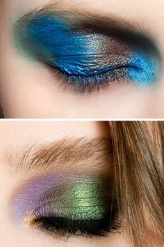 "Color-Blocked Eyelids    The Shows: Prabal Gurung, Prada, Roberto Cavalli    The Look: Bold strokes of color leapt off lids at Prada, Roberto Cavalli and Prabal Gurung, where M.A.C. Cosmetics lead makeup artist, Charlotte Tilbury, layered M.A.C. Eyeshadows in Delft and Freshwater over aquamarine eye pencil to achieve a peacock-like slash of turquoise. ""Blue pops on any eye color,"" said Tilbury. To pull off this look in real life, simply apply electric color to the top lashline only."