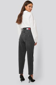 Tommy Jeans Tapered High Rise Mom Jeans Grey In Denim High Rise Mom Jeans, Jean Grey, Jeans Style, Normcore, Zipper, Denim, Formal, Cotton, Pants