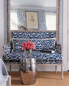 ikat blue pattern sofa