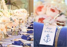 love the color palette of blush, champagne & navy... don't care for the nautical wedding theme so much