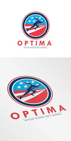 Optima Food and Beverages Logo. Logo showing illustration of a sprinter runner running viewed from side set inside circle with american stars and stripes in the background done in retro