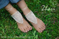 Light Beige Crochet Barefoot Sandals Neutral barefoot by ZHAVI