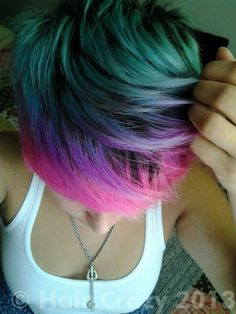 I'm going to dye my hair a crazy color in college, I wanna be fun :) Funky Hairstyles, Pretty Hairstyles, Undercut Hairstyles, Dye My Hair, New Hair, Pelo Multicolor, Bright Hair, Colorful Hair, Haircut And Color