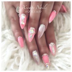 Pink chrome lace nails