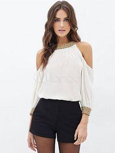 White Blouse Print Cold-Shoulder Chiffon Blouse for Women - Milanoo.com
