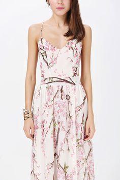 Apricot Spaghetti Strap Backless Florals Print Maxi Dress