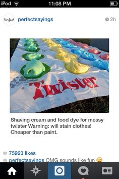 Messy twister with shaving cream! - Weird Shirts - Ideas of Weird Shirts - Summer bucket list. Messy twister with shaving cream! Fun Sleepover Ideas, Sleepover Activities, Tween Party Ideas, Ideas For Sleepovers, Sleepover Games Teenage, Party Ideas For Teenagers, Sleep Over Party Ideas, 13th Birthday Party Ideas For Teens, Teen Party Themes