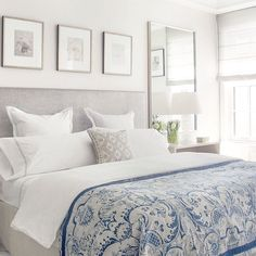 Rise & Shine // Love a neutral room with a pop of blue!