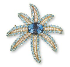 AN AQUAMARINE AND DIAMOND 'FIREWORKS' BROOCH, BY TIFFANY & CO.